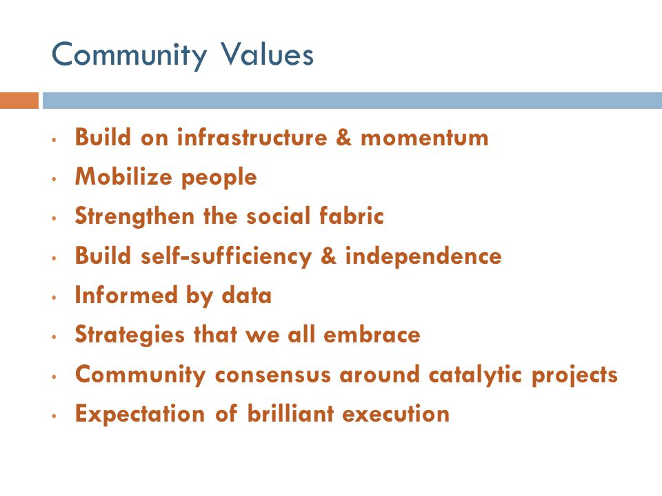 Community Values Build on infrastructure & momentum Mobilize people Strengthen the social fabric Build self-sufficiency & independence Informed by dat