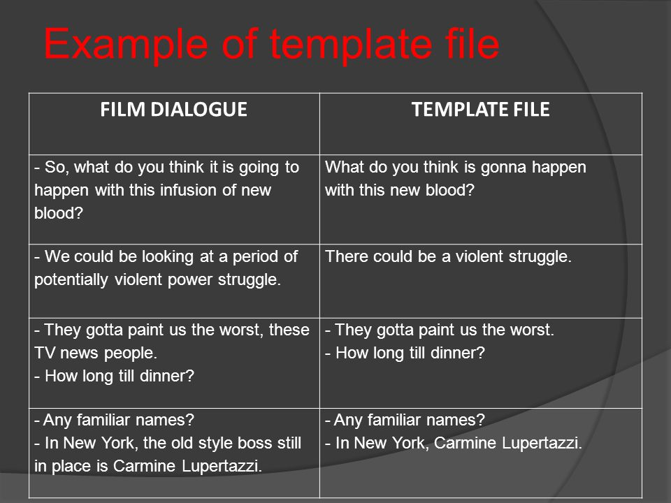 Example of template file FILM DIALOGUE TEMPLATE FILE - So, what do you think it is going to happen with this infusion of new blood.