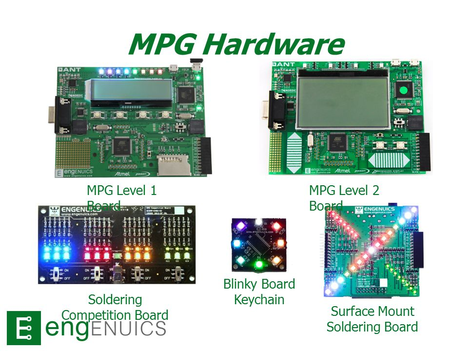 MPG Hardware MPG Level 1 Board MPG Level 2 Board Soldering Competition Board Blinky Board Keychain Surface Mount Soldering Board