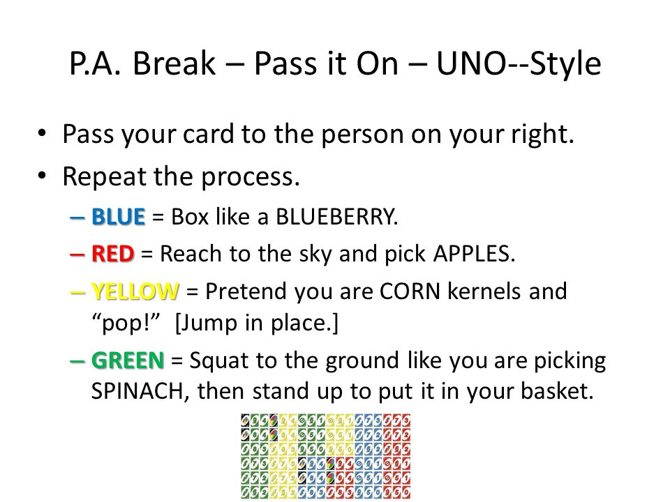 P.A. Break – Pass it On – UNO--Style Pass your card to the person on your right.