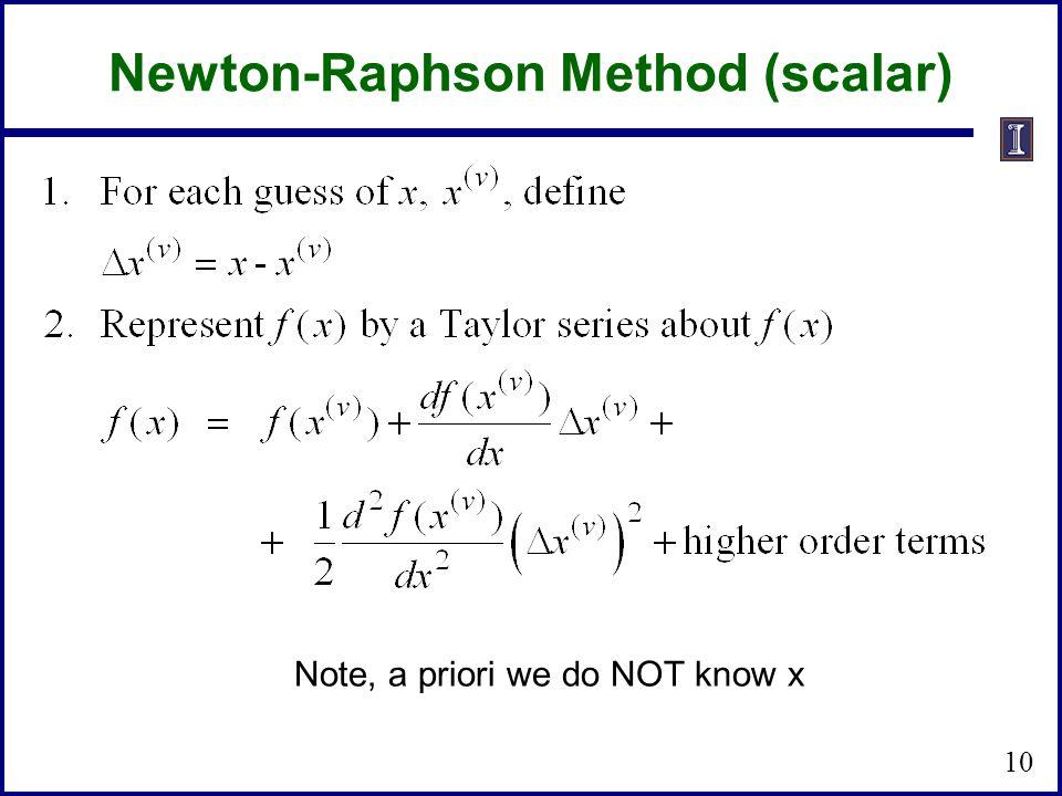 Newton-Raphson Method (scalar) 10 Note, a priori we do NOT know x