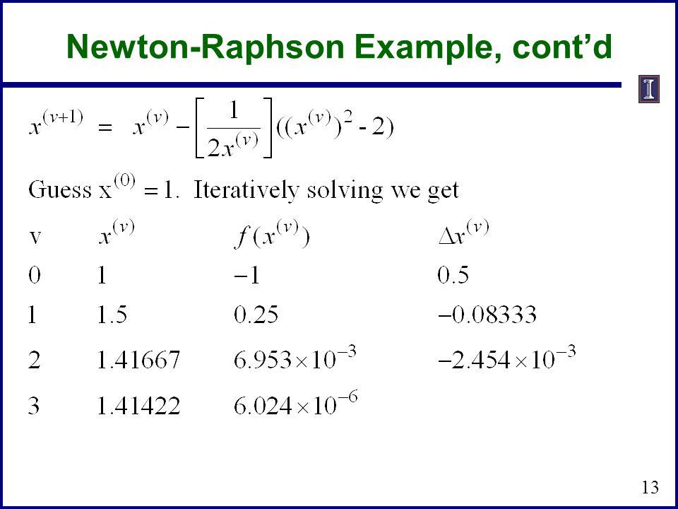 Newton-Raphson Example, cont'd 13