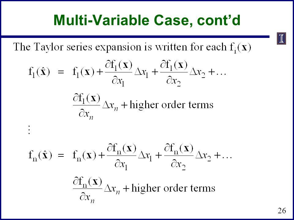Multi-Variable Case, cont'd 26