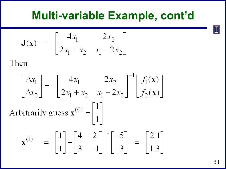 Multi-variable Example, cont'd 31