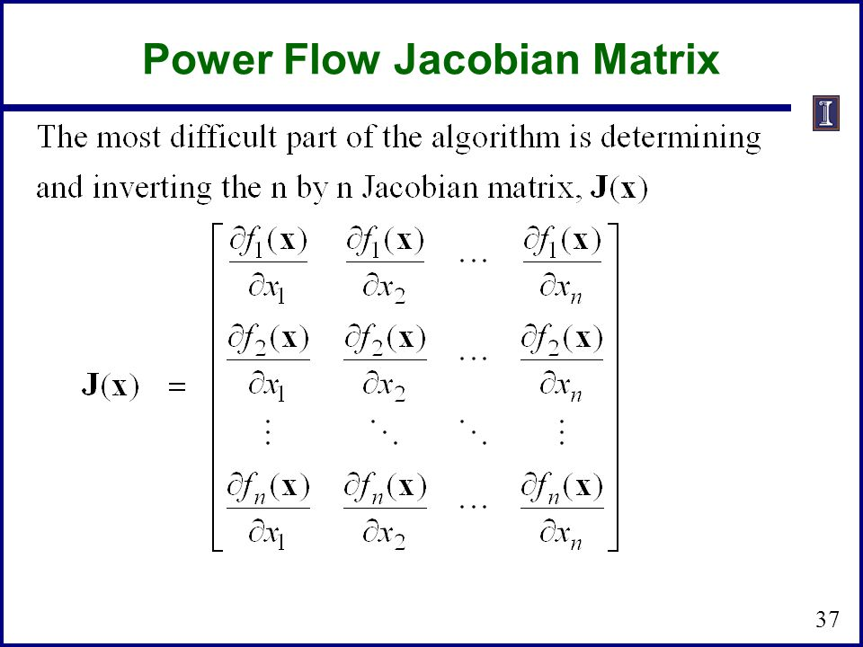 Power Flow Jacobian Matrix 37