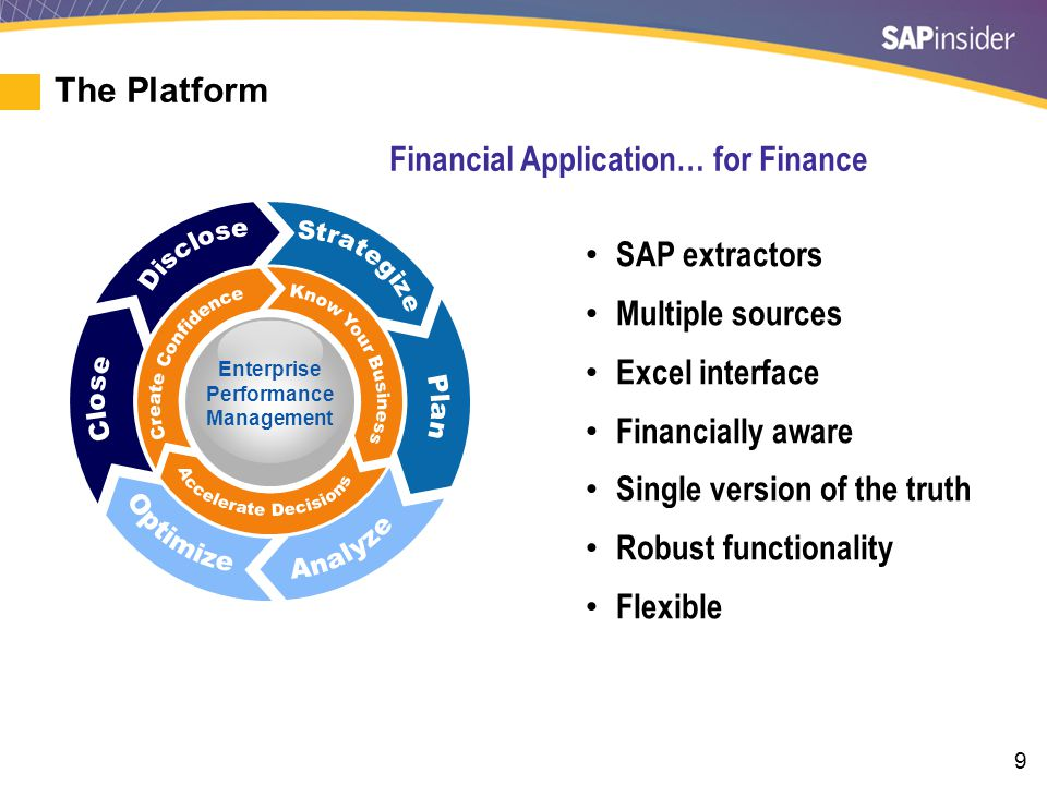 9 The Platform Enterprise Performance Management SAP extractors Multiple sources Excel interface Financially aware Single version of the truth Robust