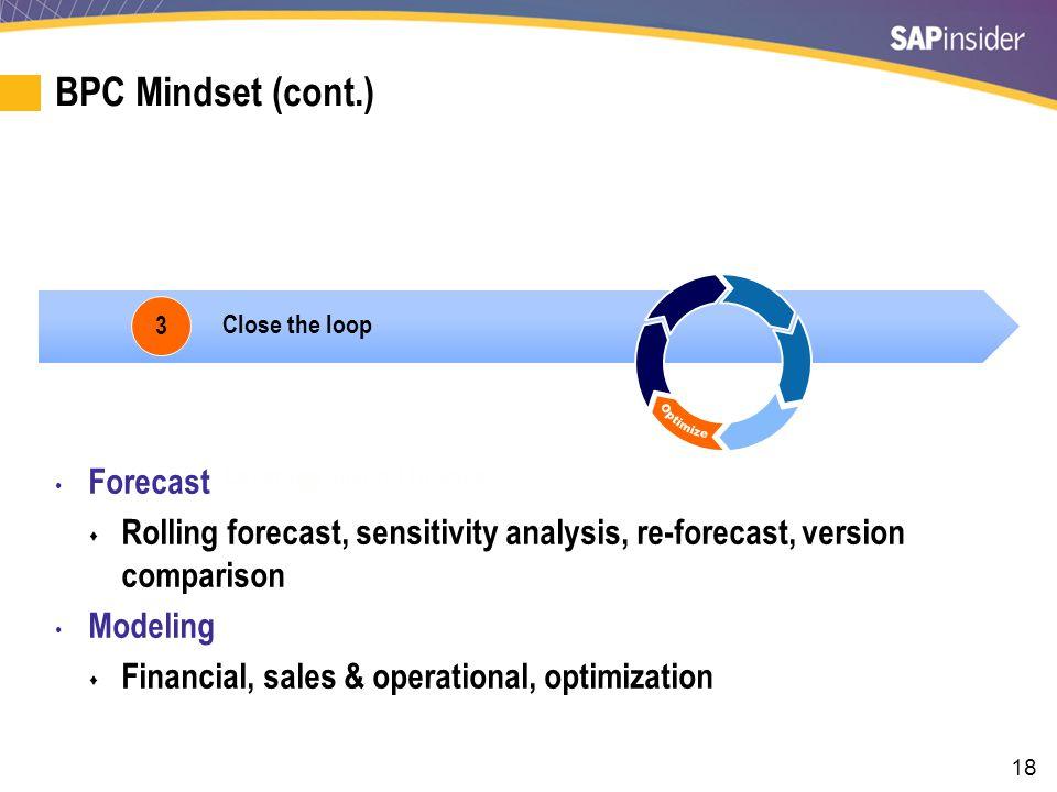 18 BPC Mindset (cont.) 3 Close the loop Leverage beyond finance Forecast  Rolling forecast, sensitivity analysis, re-forecast, version comparison Modeling  Financial, sales & operational, optimization