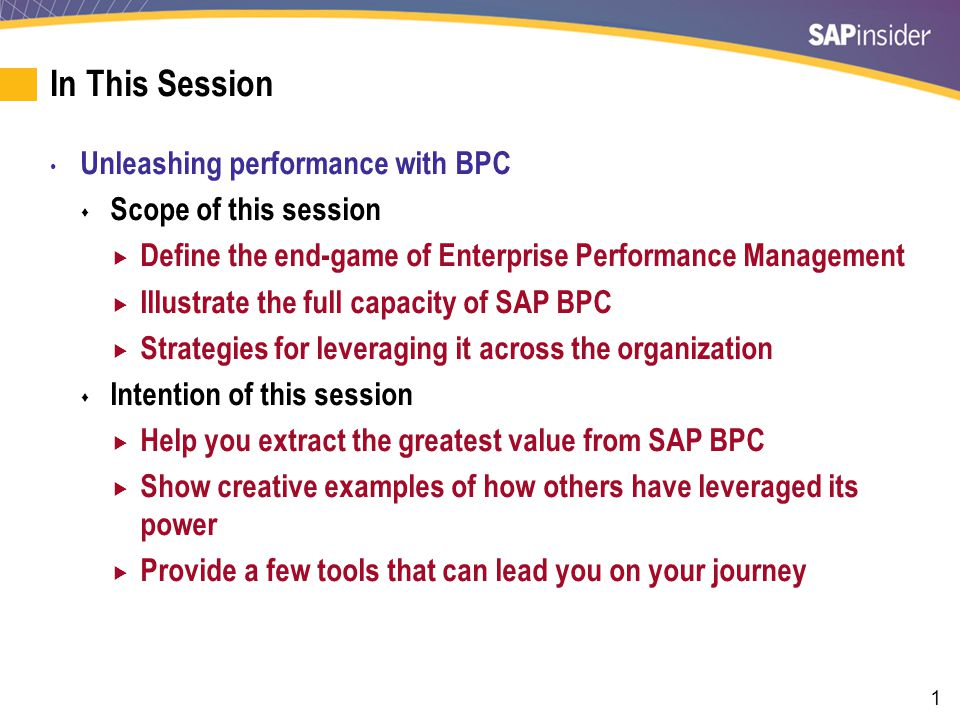 2 What We'll Cover Defining Success in Enterprise Performance Management Reviewing the Core Functionality of SAP BPC Developing the BPC Platform Fully Leveraging the BPC Platform Case Study Overview — Energy Transfer Partner's BPC Journey Wrap-up