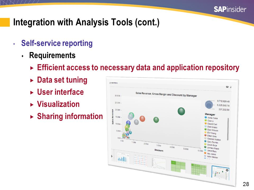 28 Integration with Analysis Tools (cont.) Self-service reporting  Requirements  Efficient access to necessary data and application repository  Data set tuning  User interface  Visualization  Sharing information
