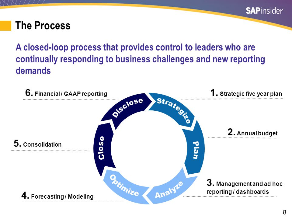 8 The Process 1. Strategic five year plan 2. Annual budget 3. Management and ad hoc reporting / dashboards 4. Forecasting / Modeling 5. Consolidation