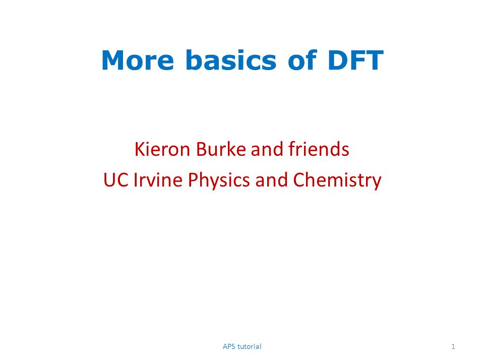 References for ground-state DFT – ABC of DFT, by KB and Rudy Magyar, http://dft.uci.edu – A Primer in Density Functional Theory, edited by C.