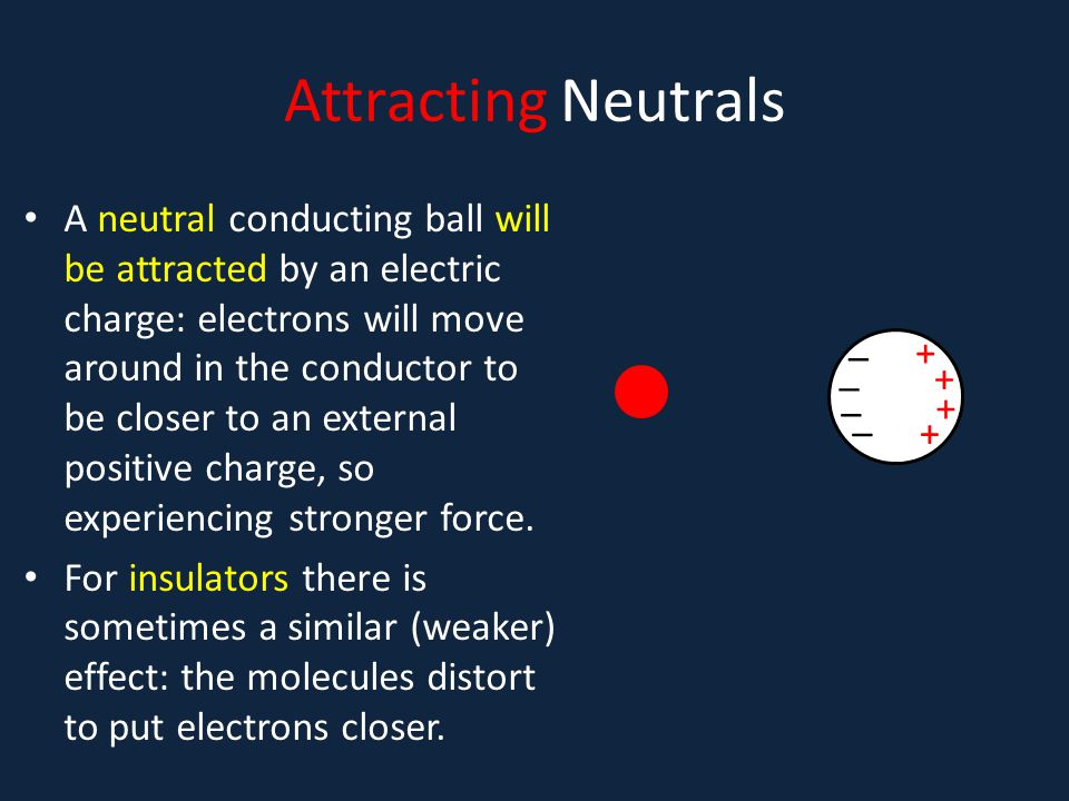 Attracting Neutrals A neutral conducting ball will be attracted by an electric charge: electrons will move around in the conductor to be closer to an