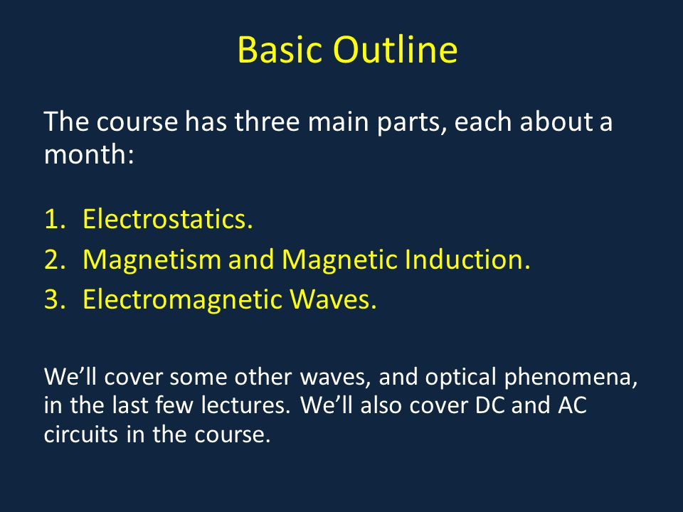 Basic Outline The course has three main parts, each about a month: 1.Electrostatics. 2.Magnetism and Magnetic Induction. 3.Electromagnetic Waves. We'l