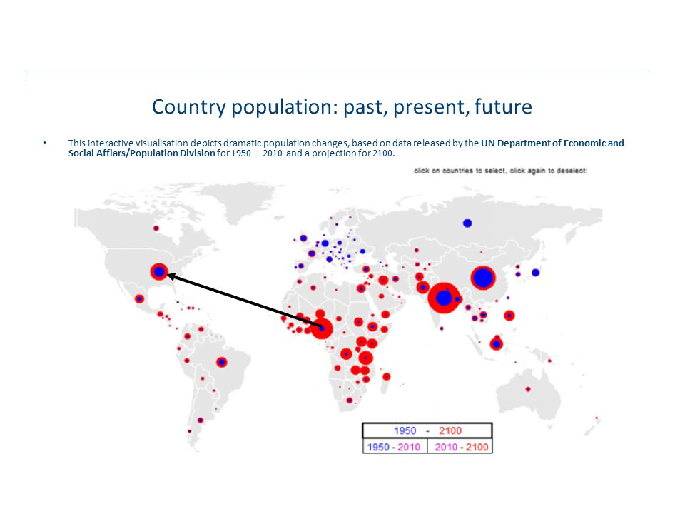 This interactive visualisation depicts dramatic population changes, based on data released by the UN Department of Economic and Social Affiars/Population Division for 1950 – 2010 and a projection for 2100.