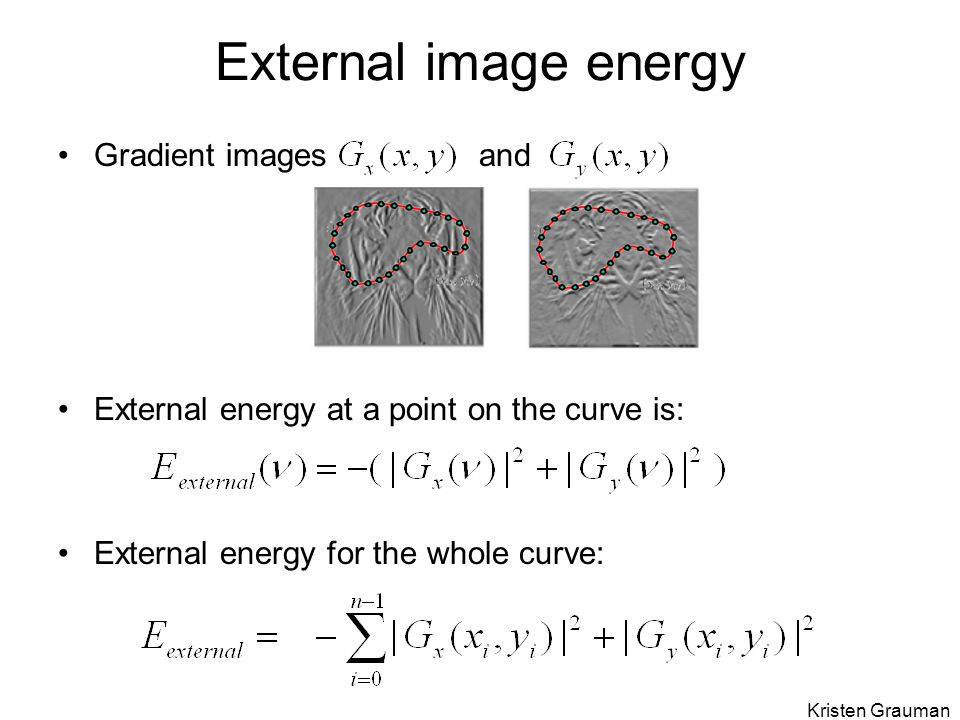 Gradient images and External energy at a point on the curve is: External energy for the whole curve: External image energy Kristen Grauman