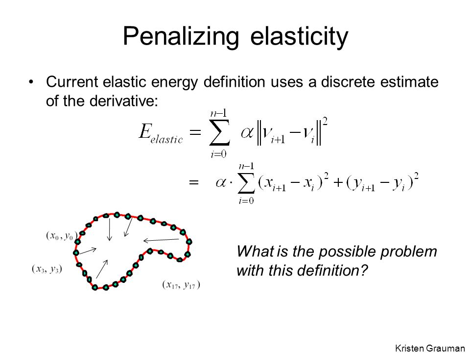 Penalizing elasticity Current elastic energy definition uses a discrete estimate of the derivative: What is the possible problem with this definition.