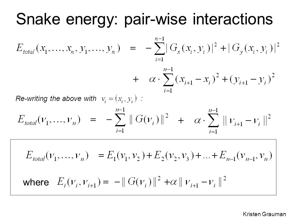 Snake energy: pair-wise interactions where Re-writing the above with : Kristen Grauman
