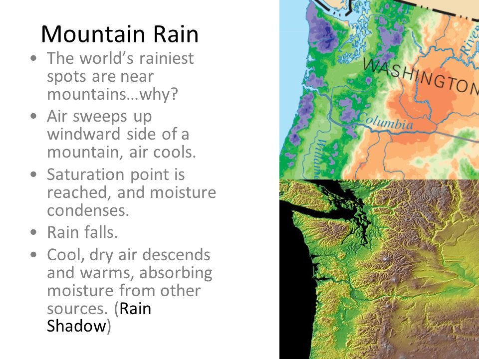 Mountain Rain The world's rainiest spots are near mountains…why? Air sweeps up windward side of a mountain, air cools. Saturation point is reached, an