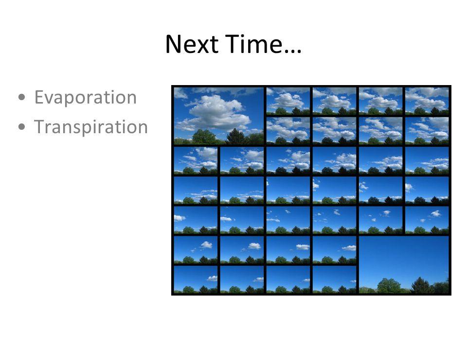 Next Time… Evaporation Transpiration