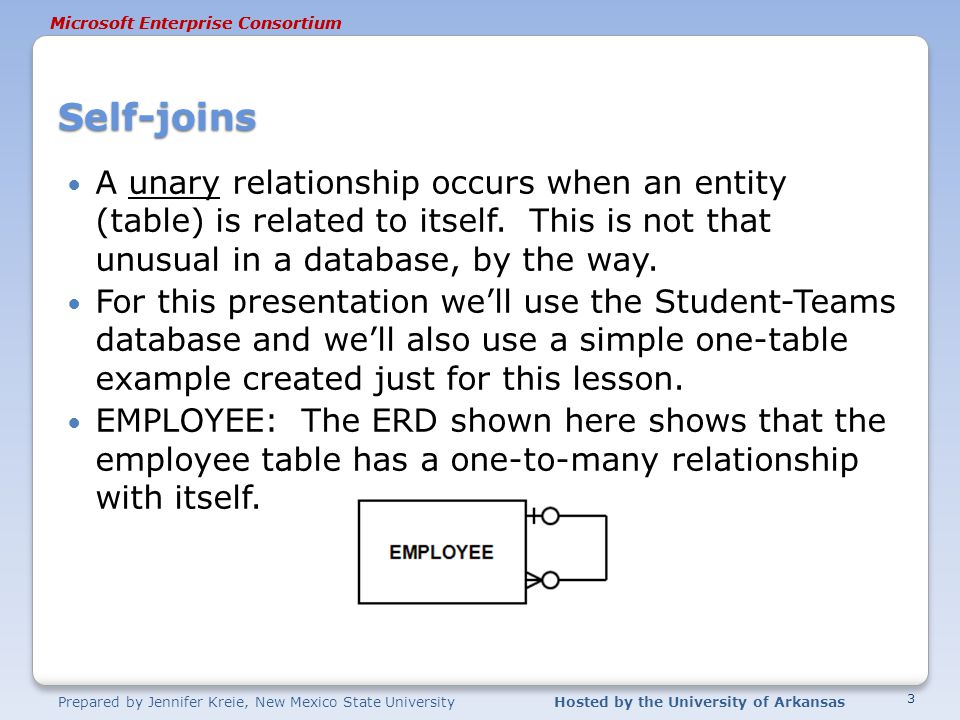 Prepared by Jennifer Kreie, New Mexico State UniversityHosted by the University of Arkansas Microsoft Enterprise Consortium EMPLOYEE – A unary relationship Why is the employee related to itself.