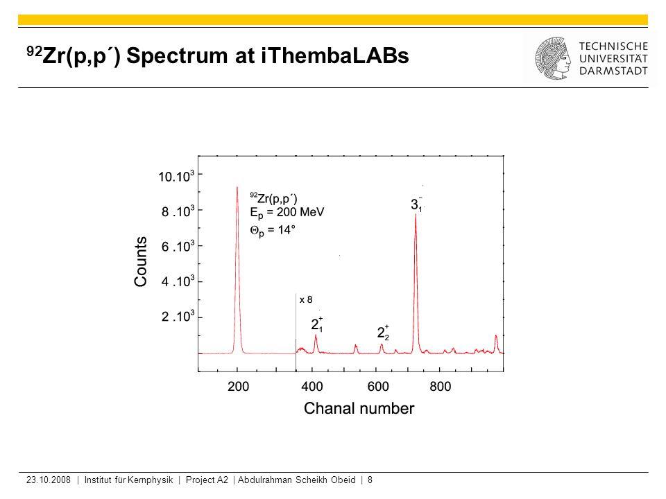 23.10.2008 | Institut für Kernphysik | Project A2 | Abdulrahman Scheikh Obeid | 8 92 Zr(p,p´) Spectrum at iThembaLABs