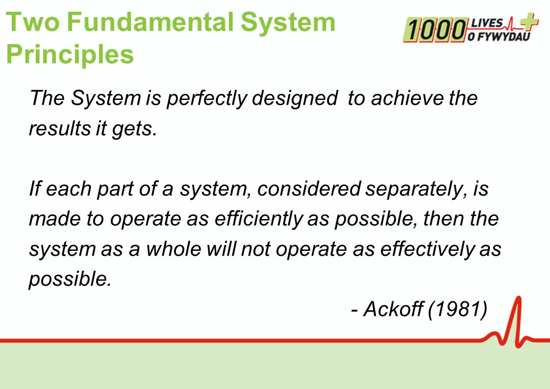 Two Fundamental System Principles The System is perfectly designed to achieve the results it gets.