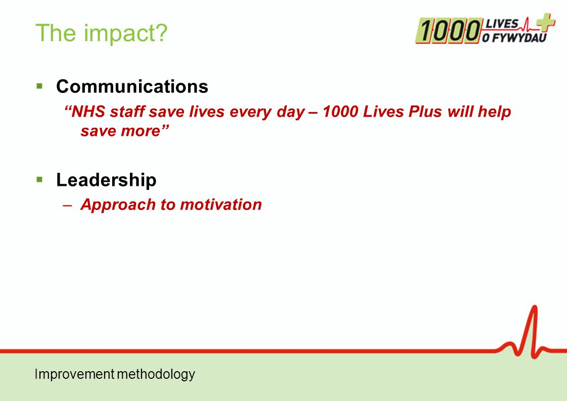  Communications NHS staff save lives every day – 1000 Lives Plus will help save more  Leadership –Approach to motivation The impact.