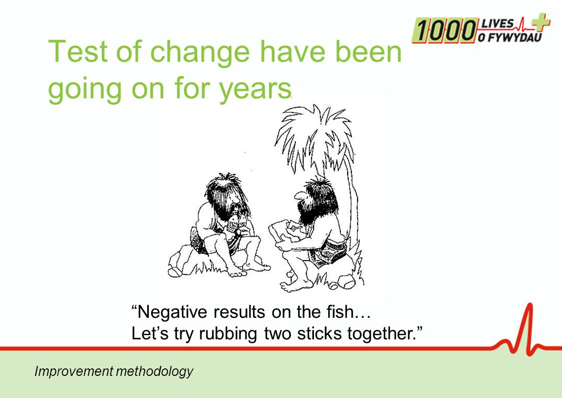 Test of change have been going on for years Negative results on the fish… Let's try rubbing two sticks together.