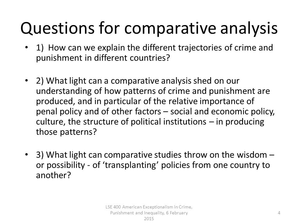 Questions for comparative analysis 1) How can we explain the different trajectories of crime and punishment in different countries.