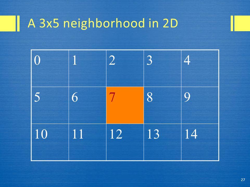 A 3x5 neighborhood in 2D 27 01234 56789 1011121314