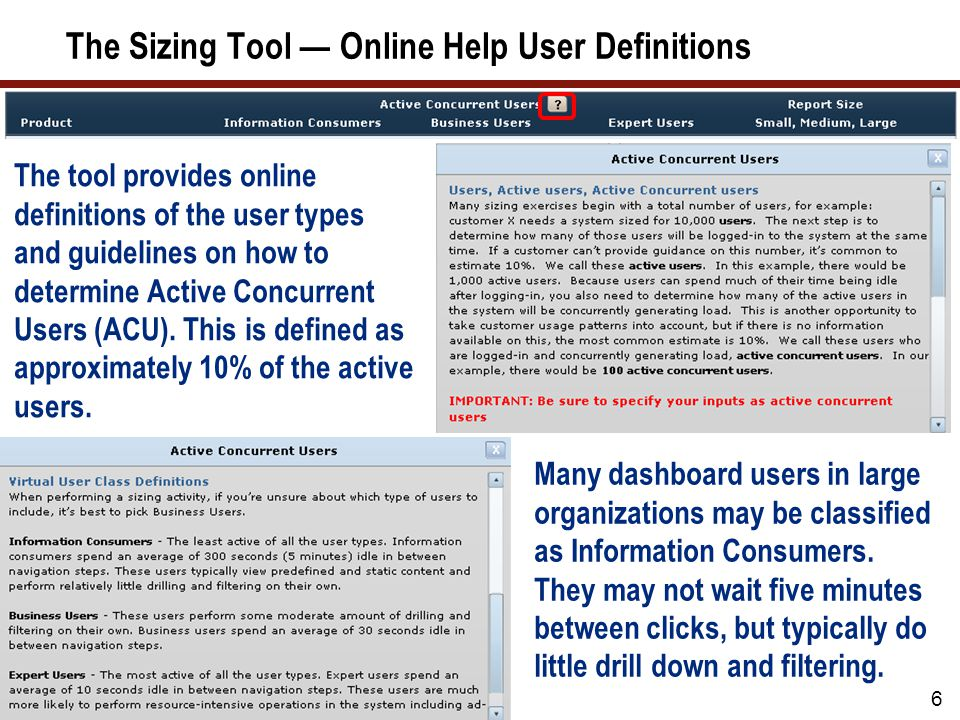 The Sizing Tool — Online Help User Definitions The tool provides online definitions of the user types and guidelines on how to determine Active Concurrent Users (ACU).