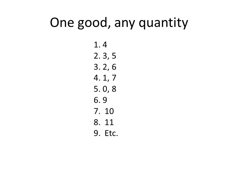 One good, any quantity 1.4 2.3, 5 3.2, 6 4.1, 7 5.0, 8 6.9 7. 10 8. 11 9. Etc.