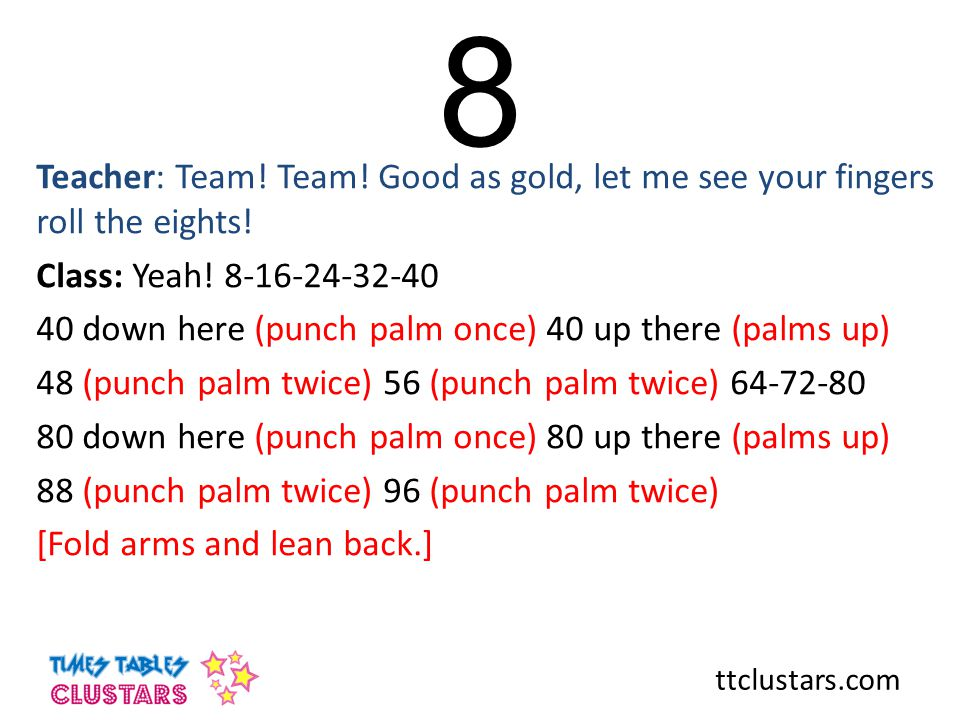 ttclustars.com 8 Teacher: Team! Team! Good as gold, let me see your fingers roll the eights! Class: Yeah! 8-16-24-32-40 40 down here (punch palm once)