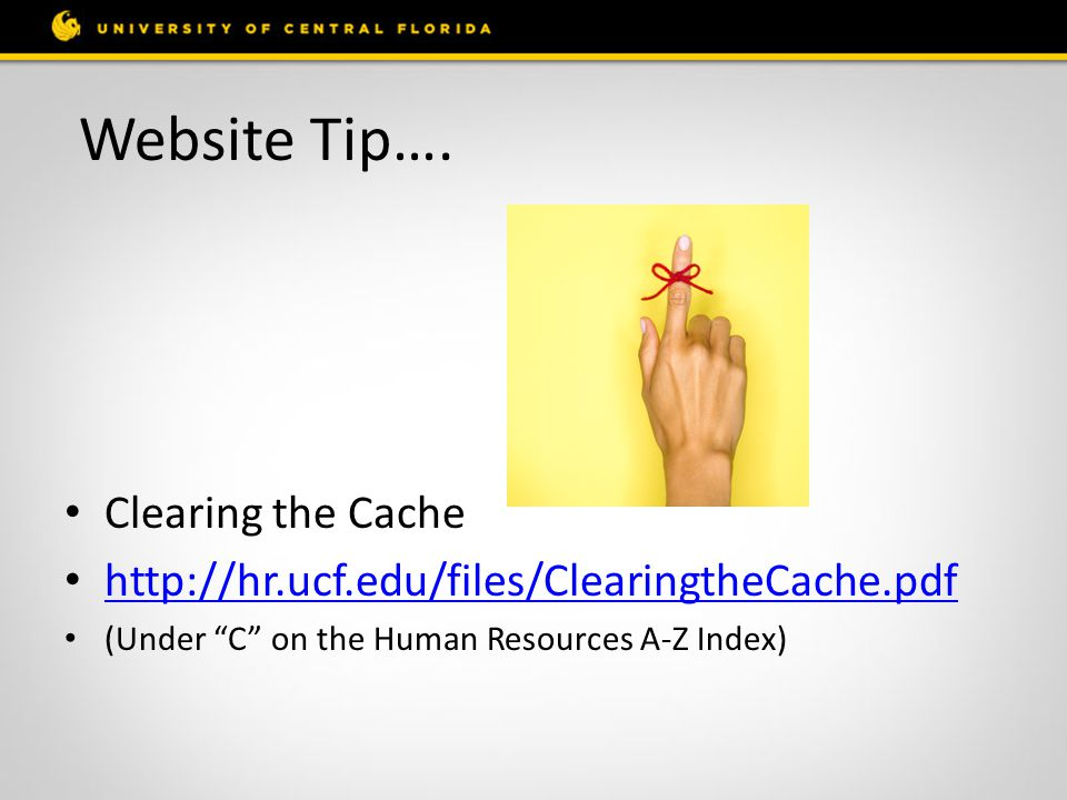 """Website Tip…. Clearing the Cache http://hr.ucf.edu/files/ClearingtheCache.pdf (Under """"C"""" on the Human Resources A-Z Index)"""