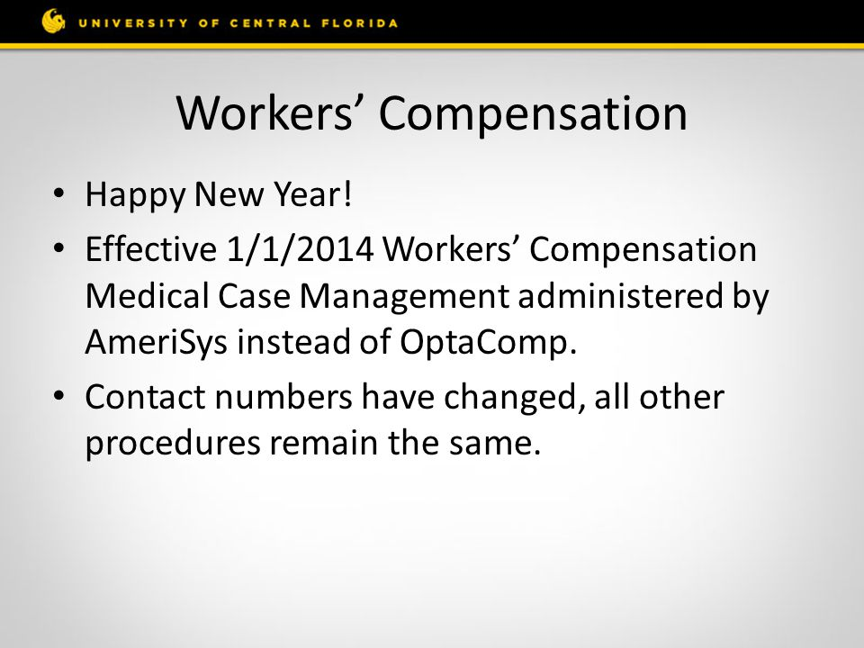 Workers' Compensation Happy New Year.