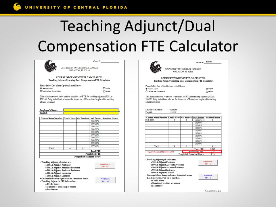 Teaching Adjunct/Dual Compensation FTE Calculator