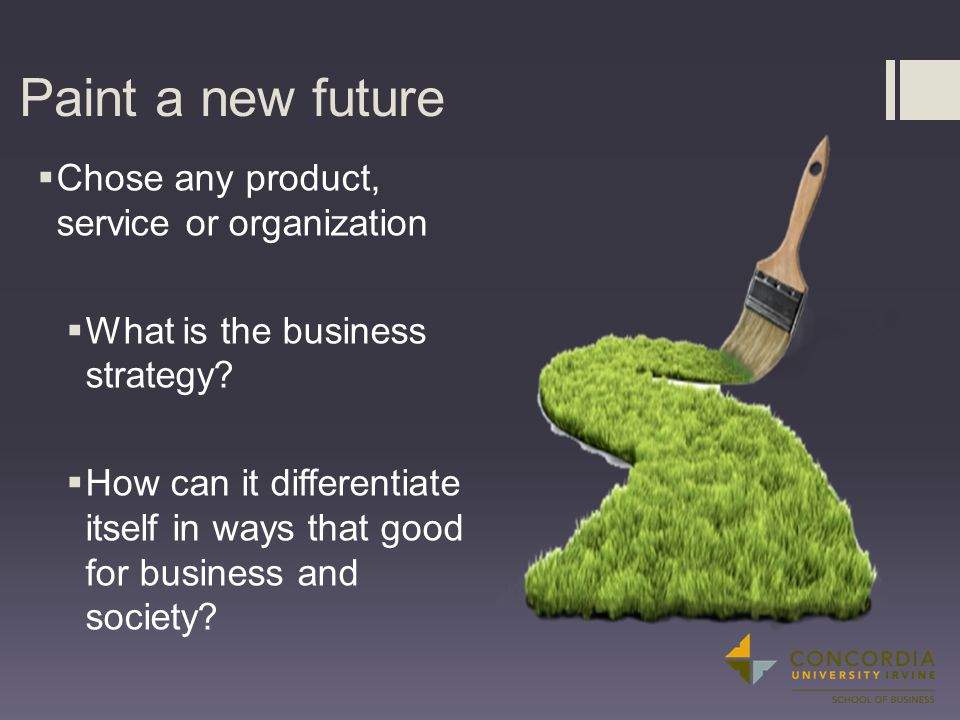 Paint a new future  Chose any product, service or organization  What is the business strategy.