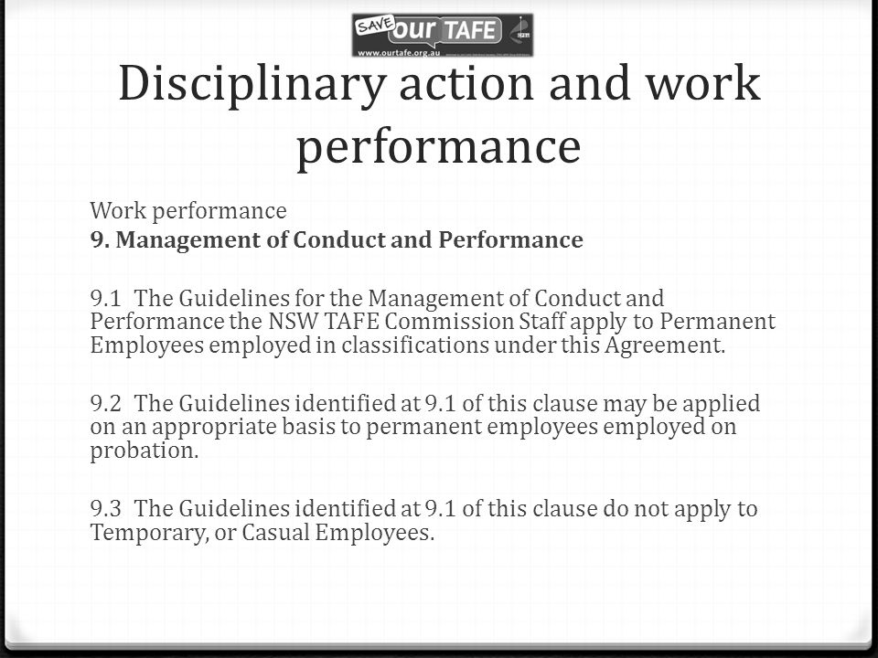 Disciplinary action and work performance Work performance 9.