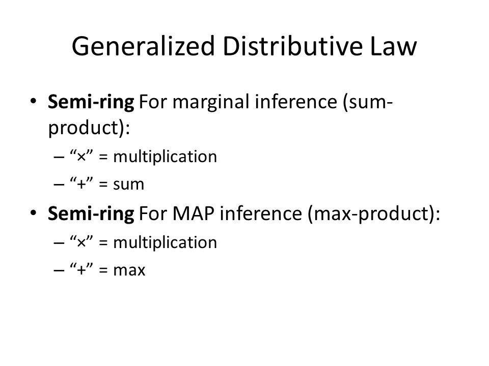 Generalized Distributive Law Semi-ring For marginal inference (sum- product): – × = multiplication – + = sum Semi-ring For MAP inference (max-product): – × = multiplication – + = max