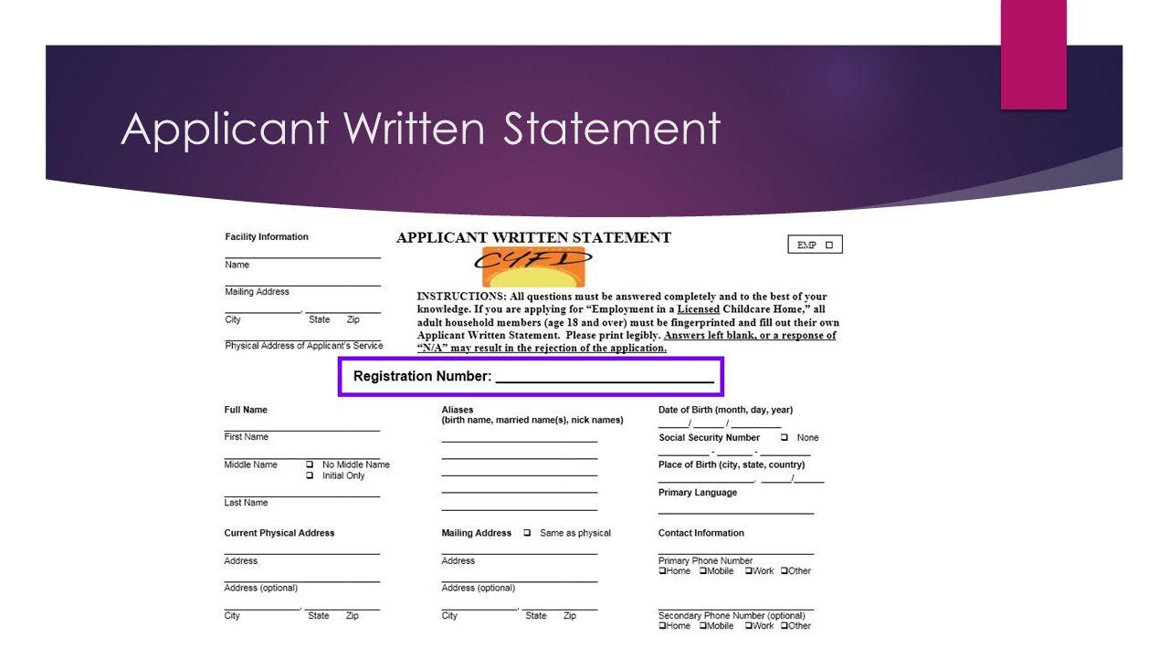 Applicant Written Statement