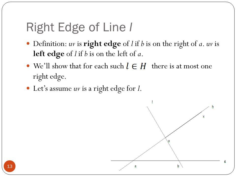 Right Edge of Line l Definition: uv is right edge of l if b is on the right of a. uv is left edge of l if b is on the left of a. We'll show that for e