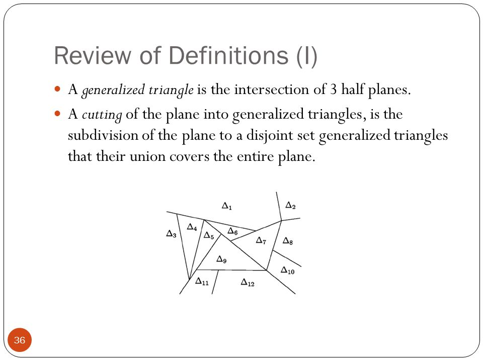 Review of Definitions (I) A generalized triangle is the intersection of 3 half planes. A cutting of the plane into generalized triangles, is the subdi