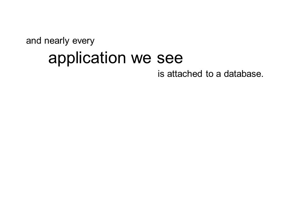 is attached to a database. application we see and nearly every