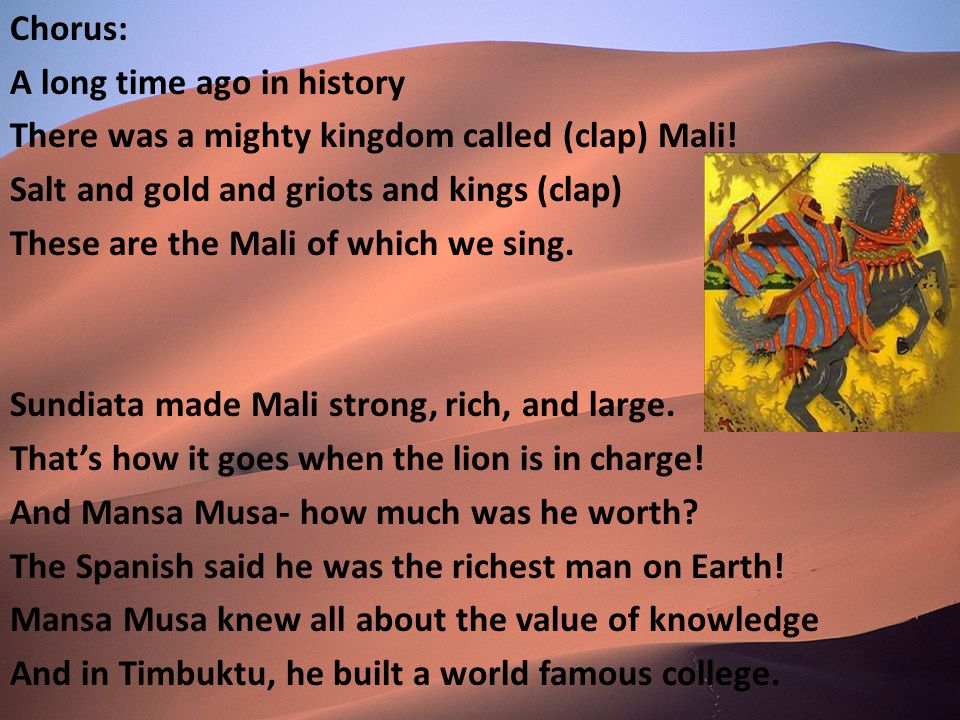 The Mali Rap Lyrics by Denise Ginter. Chorus: A long time ago in ...