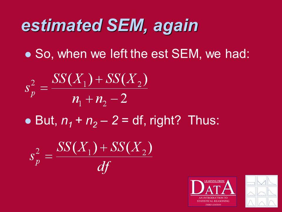 estimated SEM, again So, when we left the est SEM, we had: But, n 1 + n 2 – 2 = df, right? Thus: