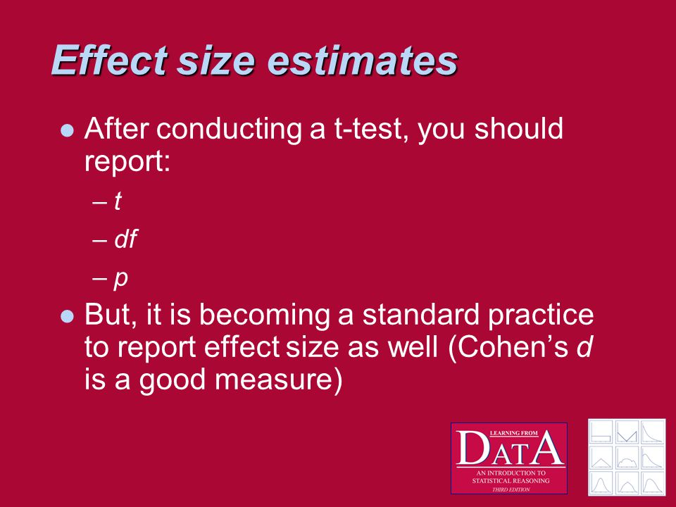 Effect size estimates After conducting a t-test, you should report: –t –df –p But, it is becoming a standard practice to report effect size as well (Cohen's d is a good measure)