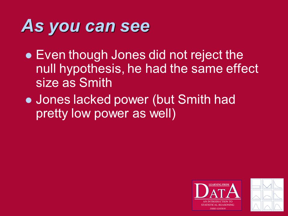 As you can see Even though Jones did not reject the null hypothesis, he had the same effect size as Smith Jones lacked power (but Smith had pretty low power as well)