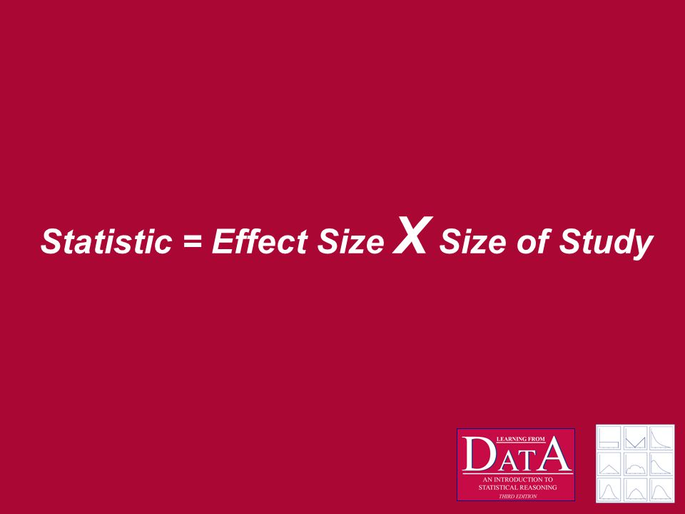 Statistic = Effect Size X Size of Study