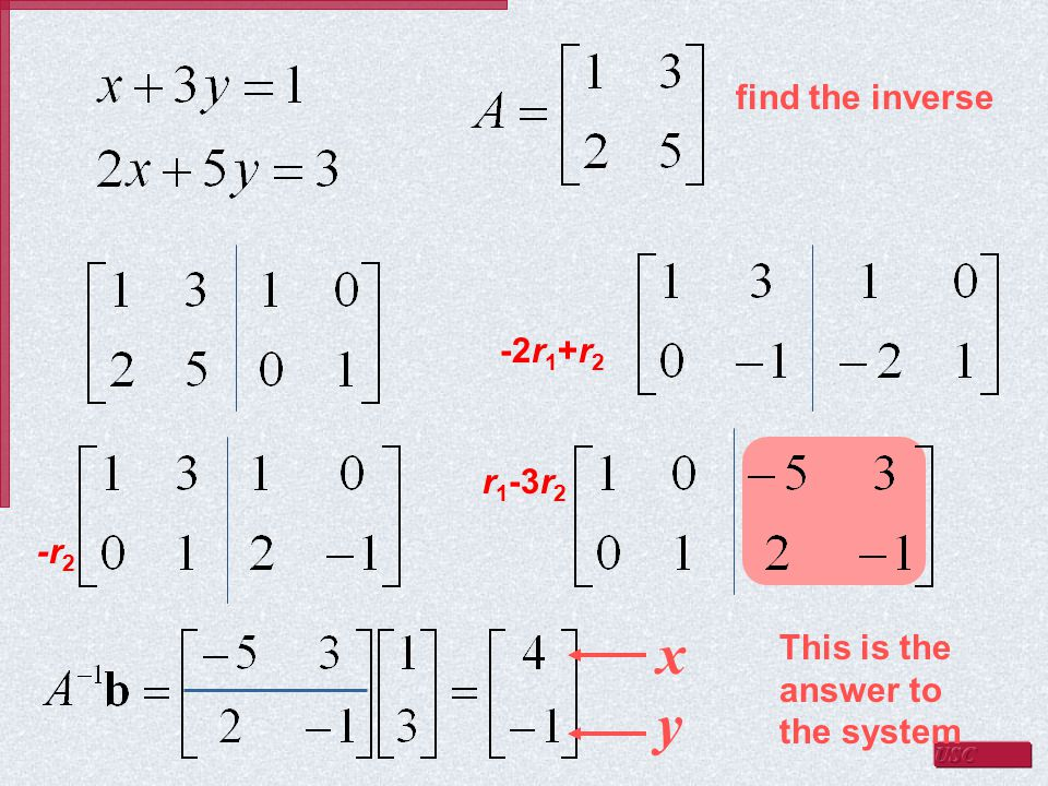 find the inverse -2r 1 +r 2 -r 2 r 1 -3r 2 This is the answer to the system x y
