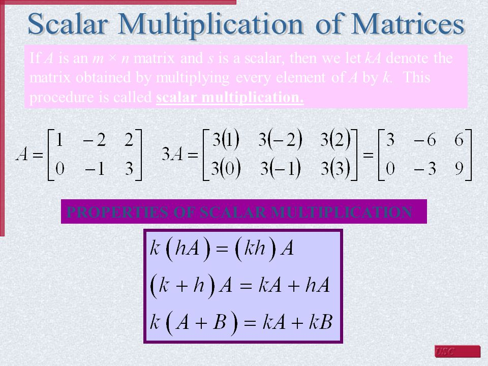 If A is an m × n matrix and s is a scalar, then we let kA denote the matrix obtained by multiplying every element of A by k.